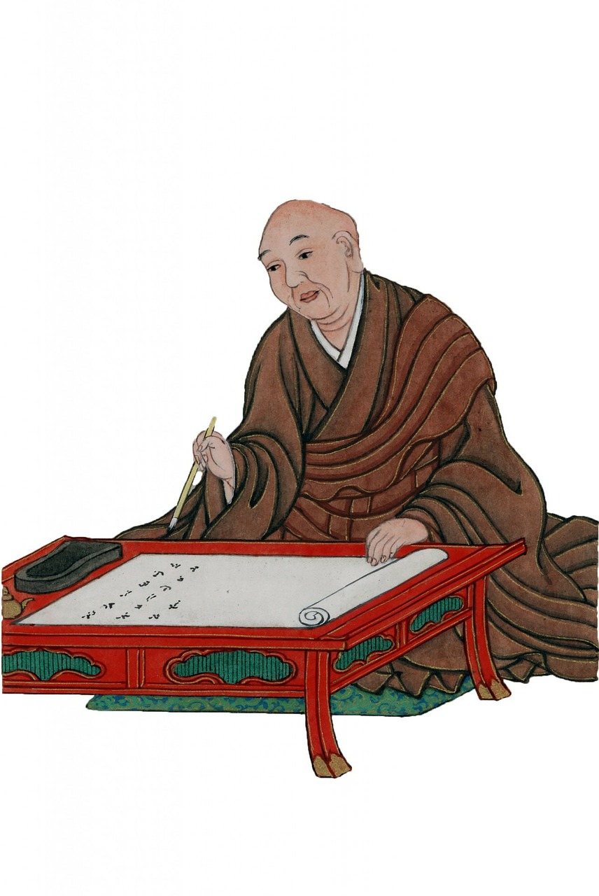 Scholar monk with scroll