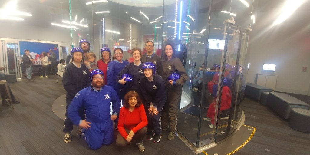 Indoor skydiving group pic