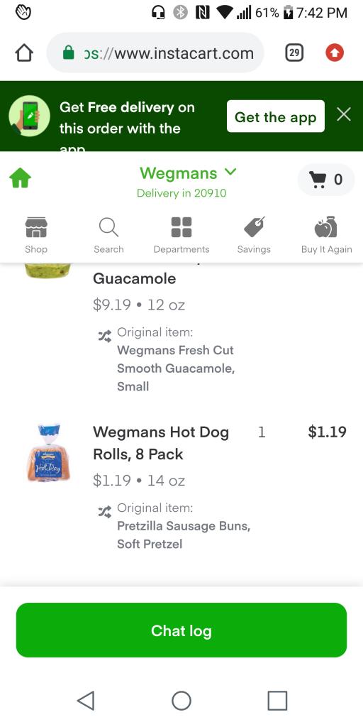 hot dog bun on an Instacart grocery order screenshot