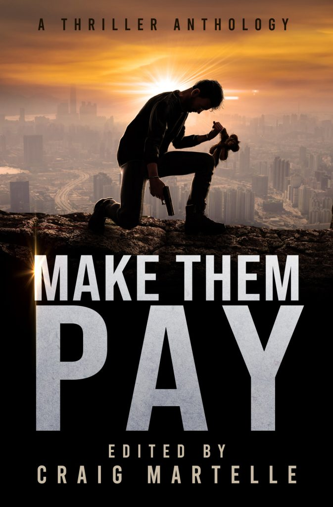 Make Them Pay cover: man with a gun clutching a teddy bear above a city
